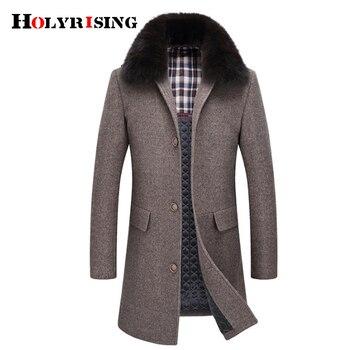 Holyrising Men Fax fur Wool jacket 45% wool Men Longer Section Woolen Coats Men Jackets Outerwear Warm coat #18219