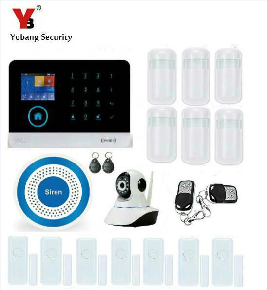 YobangSecurity Wireless Wifi Gsm ANDROID IOS APP Touch Screen Keypad Home Security Alarm System with Wireless Siren Auto Dial yobangsecurity touch keypad wifi gsm gprs rfid alarm home burglar security alarm system android ios app control wireless siren