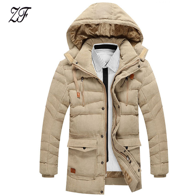 ФОТО 2016 New Men Parka Winter Cotton-padded Jacket Fashion Warm Man Coat Solid Hooded Casual Male Clothing