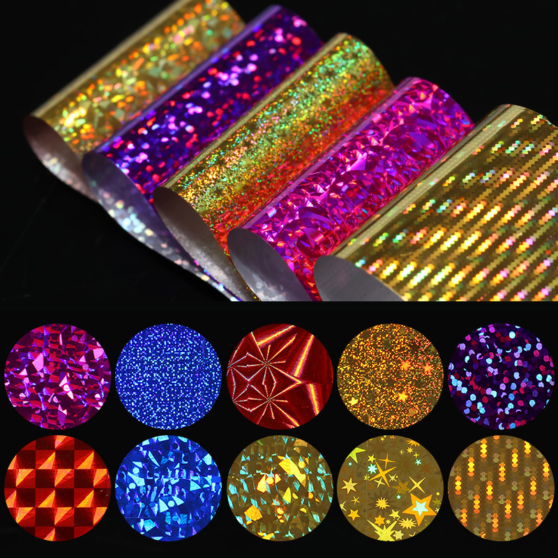 10Pcs Holographic Nail Foils Shimmer Laser Nail Art Transfer Foil Starry Sky Transfer Sticker Glitter Paper Manicure Decoration holographic darken brown nail art glitter powder diy manicure supplies ab shimmer diamond blue purple green dust nail product