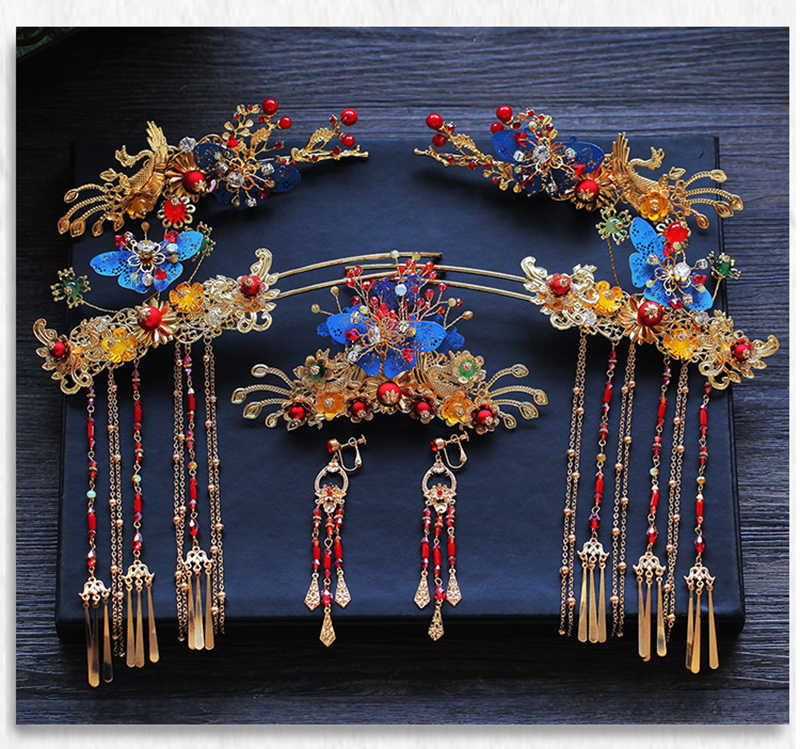 Himstory หรูหราสไตล์จีน Phoenix เจ้าหญิงเจ้าสาวมงกุฎ Vintage จีน Gold Headbands แต่งงานอุปกรณ์เสริมผม
