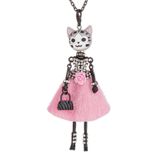 HOCOLE New Flower Doll Necklace Lovely Cat head Long Chain Pendant Statement Rhinestone Necklaces Women female Jewelry 2019