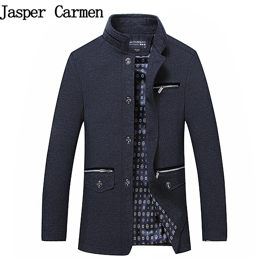High Quality Men s Wool Blends Single Breasted Coat Designer Fashion Stand Collar Business Casual Wool