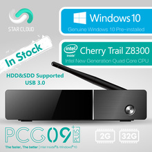 Безвентиляторный Intel Mini PC Меле PCG09 Плюс Windows 10 Cherry Trail Z8300 2 ГБ 32 ГБ SATA HDD SSD Поддержка HDMI VGA LAN Wi-Fi BT4.0 USB3.0