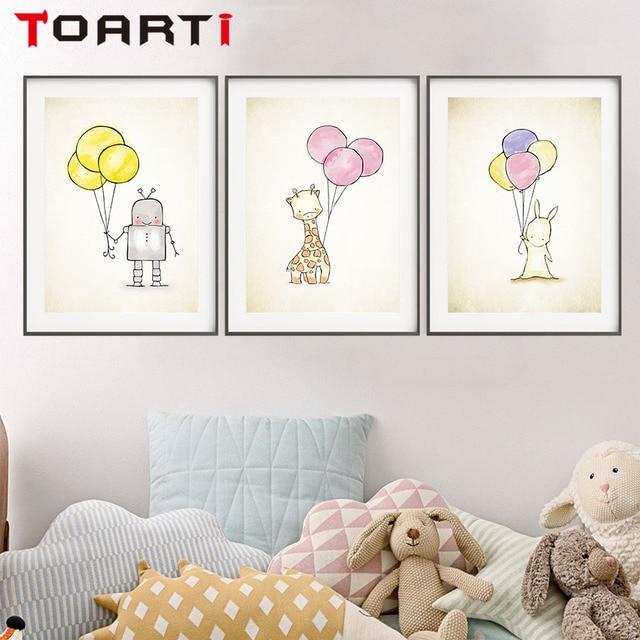 Cartoon Konijn Giraffe Robot Holding Ballon Muur A4 Canvas Schilderij Print Poster Foto Voor Baby