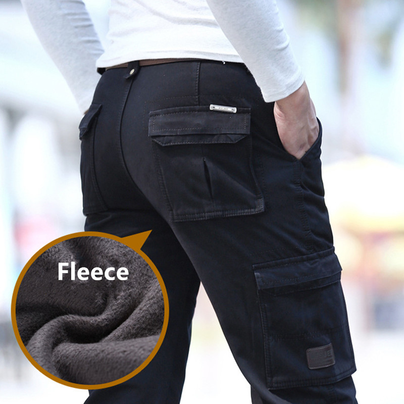 2019 Fleece Warm Winter Cargo Pants Men Casual Loose Multi-pocket Men's Clothes Military Army Green Khaki Pants Man Trousers