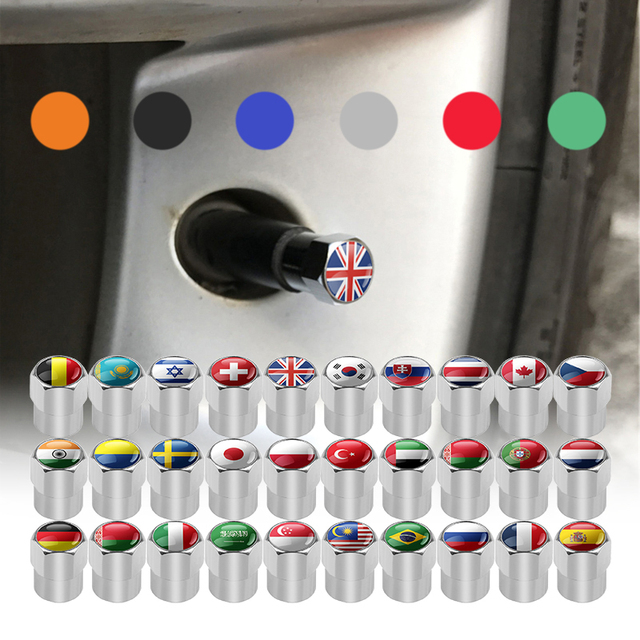 UK USA ITALY FRANCE GERMAN RUSSIA JAPAN National Flags Car Wheel Tires Valves Aluminum Tyre Stem Air Caps Decorating Accessories