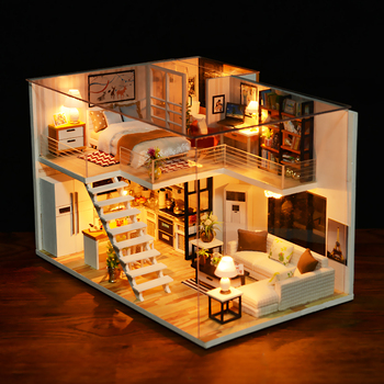 Cutebee Doll House Furniture Miniature Dollhouse DIY Room Box Theatre Toys for Children Njxw-B