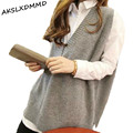 2017 Fashion Spring Autumn Plus Size Md-long Sleeveless V-neck Loose Pullover Women Vest Sweater Female Jersey Mujer ZL2181