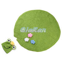 2015 NEW Handmade Baby Newborn Photography Props Hat and Blanket Set Newborn Lotus Leaf Style Blanket with Frog Hat Outfit 1set