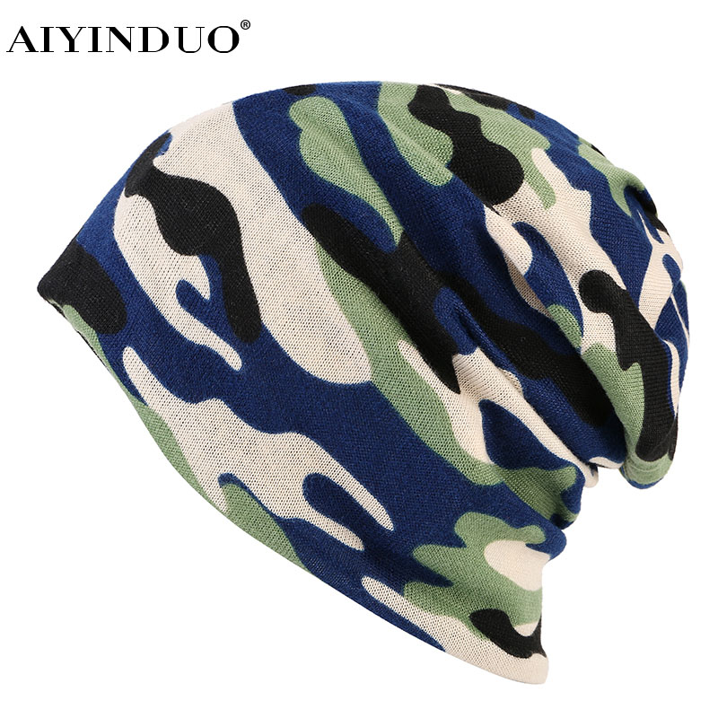 AIYINDUO Hats For Men Women Camouflage Beanies for men skullies Knitted Hat Femme Male Cap winter Autumn Sport New free shipping autumn and winter letter hat skullies beanies wool knitted hats for women ski cap men sport acrylic hat rx120