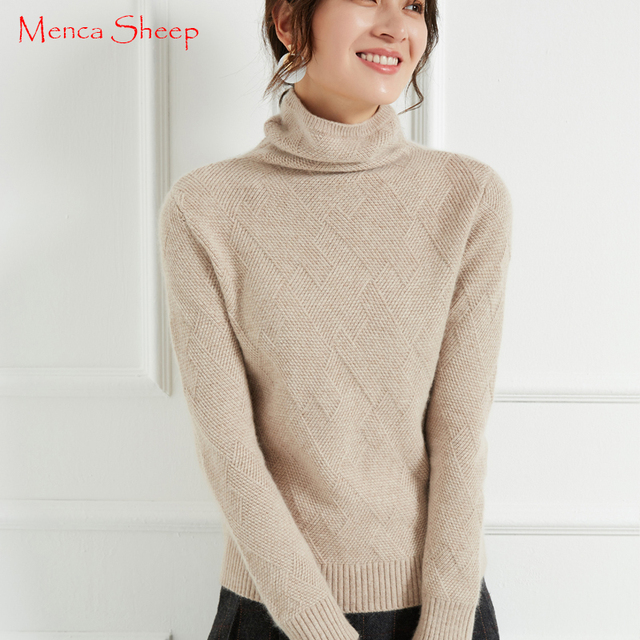 New Arrival Sweaters Women 100% Cashmere and Wool Jumpers Ladies Turtleneck  Warm Pullovers Soft and Elegant Thick Knitwear Tops 731357e6a