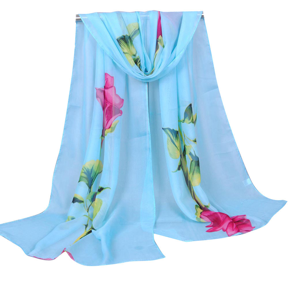 female   scarves   silk shawls and   wraps   women's   scarf   Rose Long Soft   Wrap   Ladies Shawl Chiffon veil KZ43