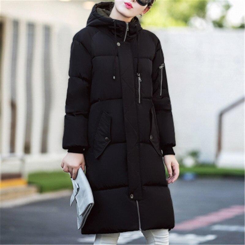 2017 de Invierno Nueva Mujer Coreana de la Chaqueta Más El Tamaño Encapuchado Abajo Cubre La Chaqueta Parka Abrigo de Algodón acolchado de Las Mujeres grueso Abrigo Largo