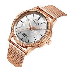 Уникальный дизайн Водонепроницаемый часы для Для женщин розового золота Нержавеющая сталь сетки браслет наручные часы Женское платье с украшением в виде кристаллов наручные часы