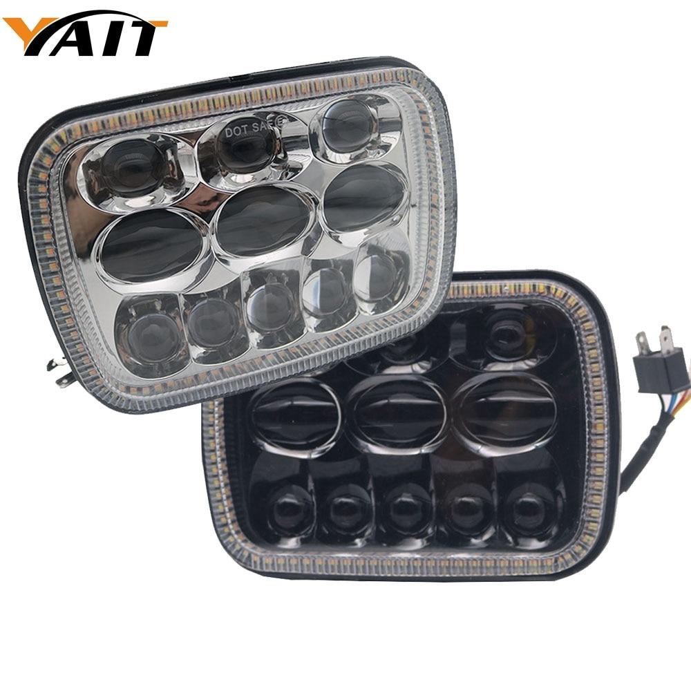 For Toyota Pickup White Amber Halo Ring 7X6 LED Headlight Sealed Beam for Jeep Cherokee XJ Trucks 5x7LED Headlight Hi/Lo Beam