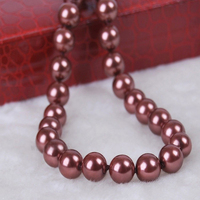 10mm Chocolate South Sea Shell Pearl Round Necklace AAA Grade 18