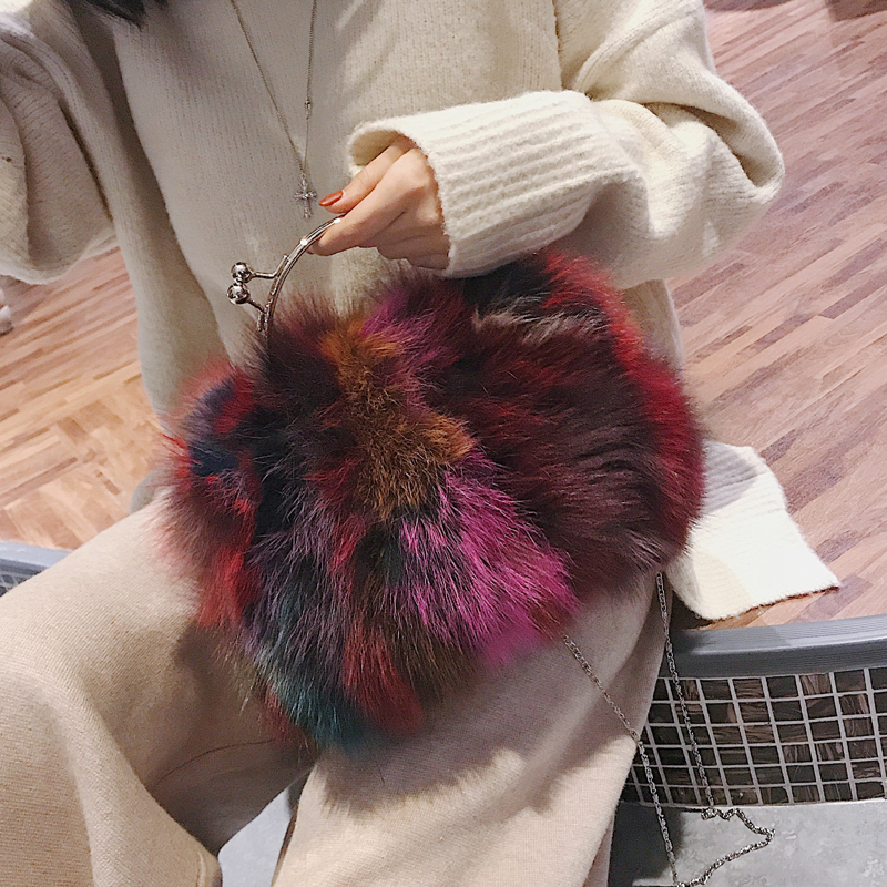 2017 Fox Fur Handbags Fashion Women Winter Luxury Bag Genuine Leather Shoulder Bags Bolsa Feminine Messenger Bags sac a main