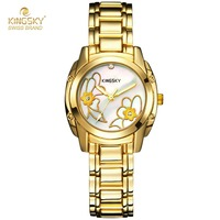 Famous Brand Watches Kingsky Alloy Analog Quartz Bracelet Watch Luxury 18K Gold Watches For Women Fashion