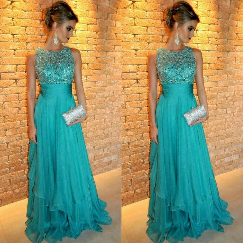 e2ba8aeb5 Vestidos De Graduacion Evening Dress 2017 Scoop Neck Corset Floor Length A  Line Chiffon Beaded Emerald Green Prom Dress-in Prom Dresses from Weddings  ...