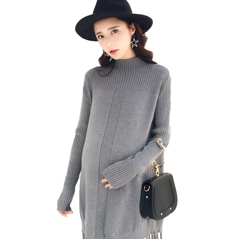 2017 autumn knitted tassel cape maternity long sweaters for pregnant women clothes oversize pregnancy pullovers knit dresses top