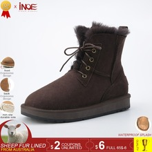 INOE fashion style genuine sheepskin leather fur lined men ankle winter snow boots for man lace up casual winter shoes Black
