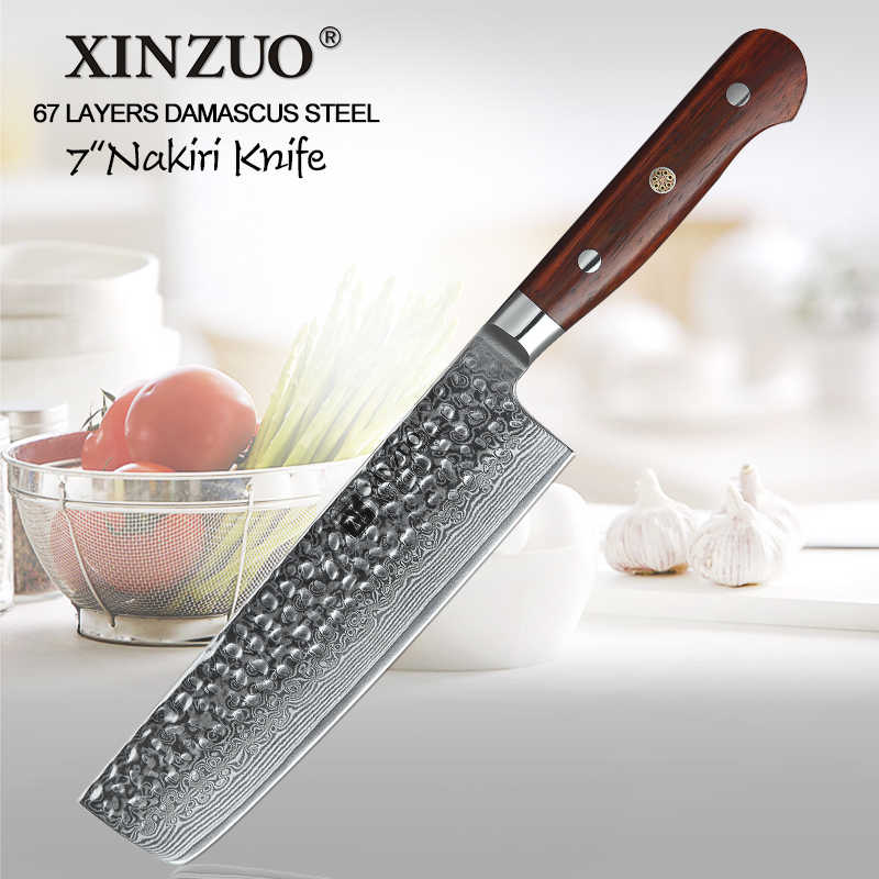 XINZUO 7'' Slicer Knife Damascus Stainless Steel Kitchen Nakiri Knife Cutlery Perfect for Slicing Dicing Mincing Rosewood Handle