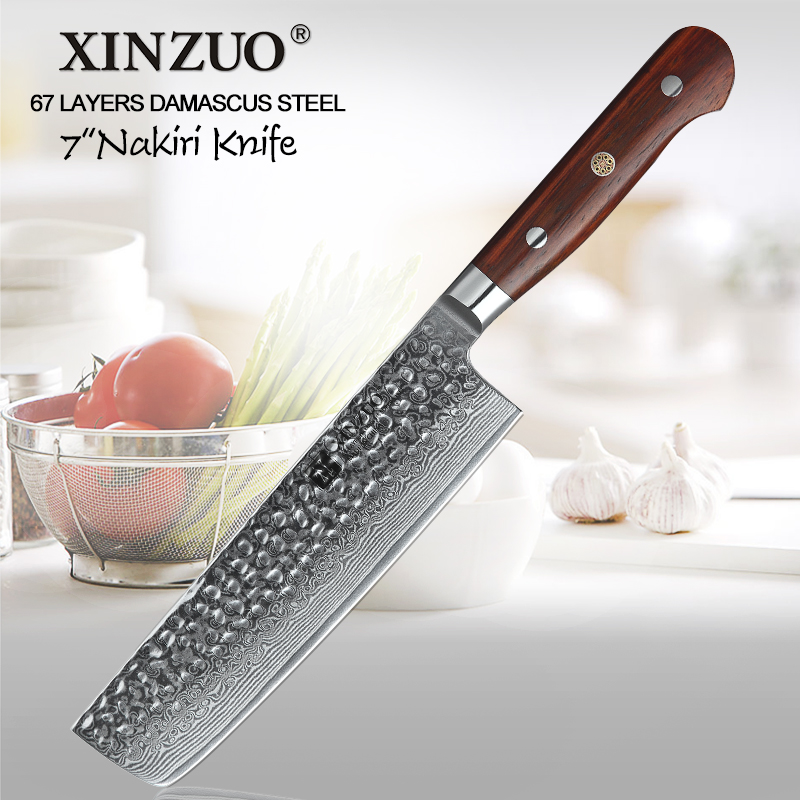 XINZUO 7 ''couteau trancheuse damas acier inoxydable cuisine Nakiri couteau coutellerie parfait pour trancher en dés hachage poignée en palissandre-in Couteaux de cuisine from Maison & Animalerie    1