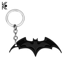 COOL Superhero Batman Pendant Keychain Metal Figures Toy Black Alloy Metal Key Ring Movie Jewelry Party Accessories TO Boy(China)