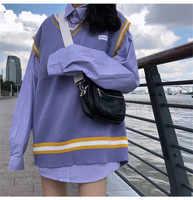 Femmes 2 pc ensembles printemps mode chemises surdimensionné manches longues rayé Long Blouse & tricot chandail débardeur gilets costumes femme 2 pièce hauts