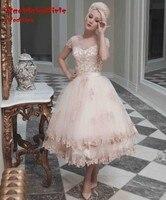 Scoop Champagne 2016 Short Wedding Dresses Ball Gown Bride Lace Appliques Tea Length Wedding Bridal Gowns