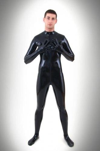 Vendita calda Lattice Costumi Sexy uomo Gomma Catsuit Fetish In Lattice Body Con lattice Gloevs & Calzini Zip Attraverso Biforcazione