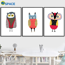 7-Space Nordic Poster Abstract Owl Canvas Painting For Kids Room Cartoon Wall Art Canvas Print Poster Wall Pictures Home Decor cartoon universe planet astronaut print canvas painting nordic poster wall art space print nursery wall pictures kids room decor