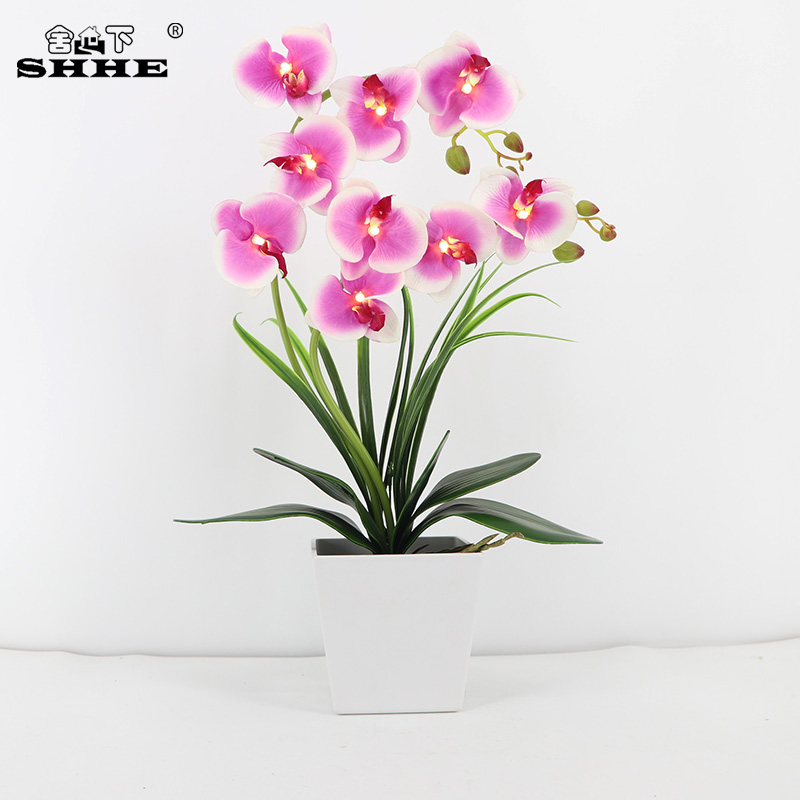 Led Table Lamps 2019 Latest Design Battery Operated Orchid Flower Balcony Home Led Light Blossom Energy Saving Garden Artificial Potted Living Room Lighted Table Last Style