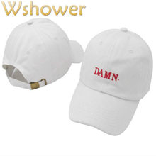 3fb1d306fe5 which in shower White Red Black Embroidery DAMN. Dad Hat Women Men  Adjustable The Rapper Baseball Cap Hip Hop Male Female Bones