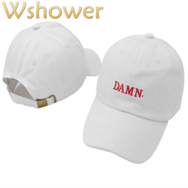 which in shower White Red Black Embroidery DAMN. Dad Hat Women Men  Adjustable The Rapper Baseball Cap Hip Hop Male Female Bones a5537a74565