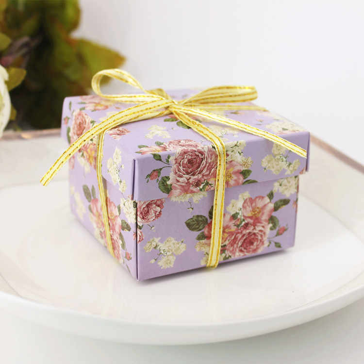 candy box bag chocolate paper gift box flower green purple for Birthday Wedding Party Decoration craft DIY favor baby shower Wh