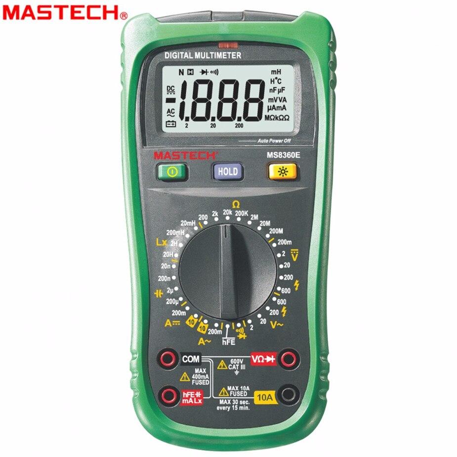 MASTECH MS8260E multimètre numérique LCR mètre AC DC testeur de courant de tension avec Test hFE et rétro-éclairage LCD Multimet