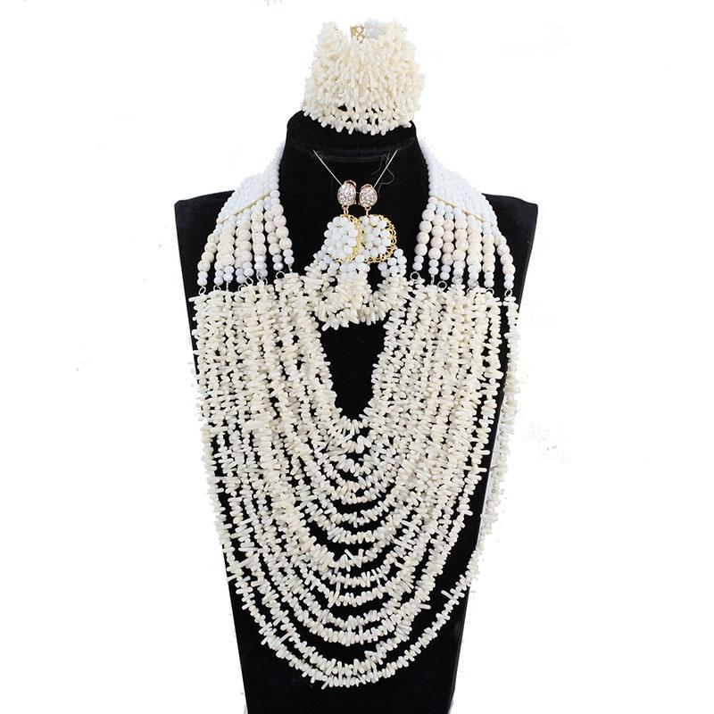 2018 nigérian mariage perles ensemble de bijoux de luxe 14 couches perles complètes bavoir corail collier bijoux ensemble nouveau livraison gratuite ABH750