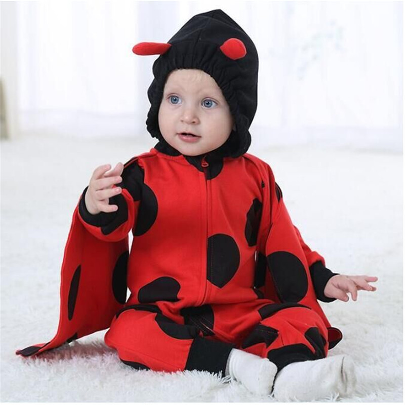 Androktones 2018 Spring Newborn Infant Baby Clothes Pure Cotton Romper Hooded Jumpsuit Red Ladybug Onesie Cosplay Girls Costume