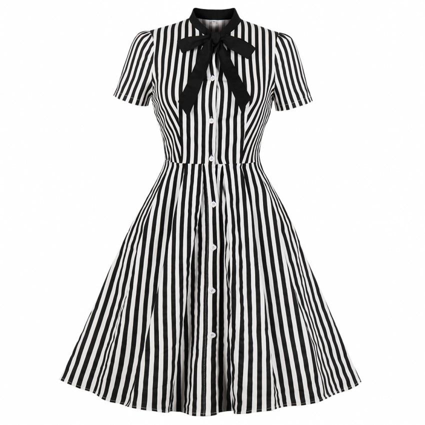 Summer Cotton Striped Print Midi Dress Casual Cute Women Short Sleeves Bowknot Shirt Dresses Evening Party Office Swing Vestidos