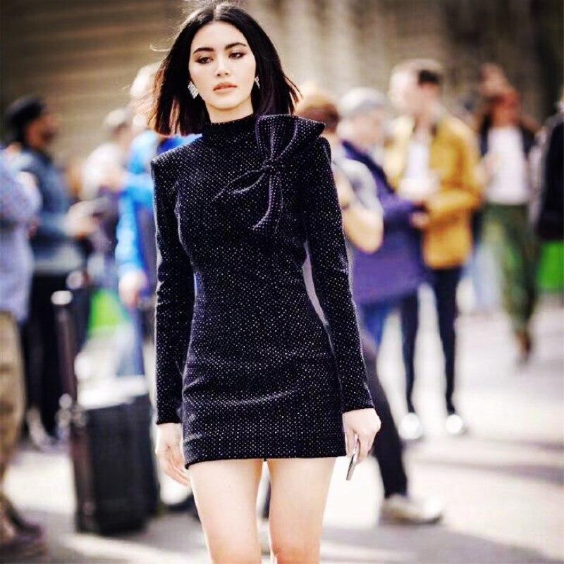 2019 printemps nouvelle robe de piste de luxe femmes velours à pois Vintage rétro robes de soirée Sexy Mini gros arcs belle robe NS223