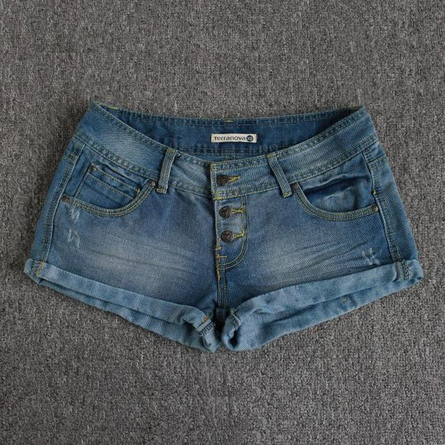 Foreign trade  original single ladies no stretch flanging three buckles personalized cowboy denim Shorts 2015 women summer new