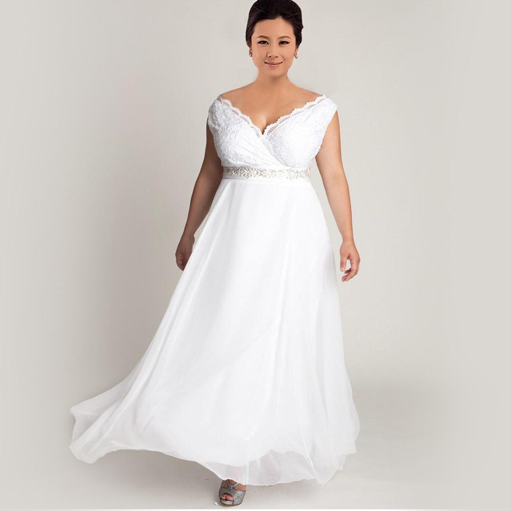 Simple Plus Size Wedding Dresses: Lace Chiffon Plus Size Wedding Dress Simple V Neck Empire