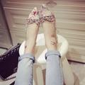 Горный хрусталь плоской женской обуви осень новое поступление 2016 женский персонализированные цветочный принт острым носом мода обувь