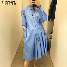 SuperAen 2019 Spring and Summer New Women Shirt Dress Solid Color Cotton Casual Ladies Dress Temperament Europe Women Clothing