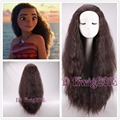 FREE SHIPPING 2016 New Movie Moana 75cm long wavy curly dark brown cosplay wig +a wig cap