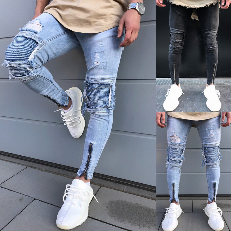 2017 New Autumn Fashion Hole Jeans Men Long Trousers Skinny Ripped Distressed Jeans Denim Pants Moto Biker Frayed Pencil Pants new men flower print skinny jeans fashion denim pencil trousers 0931