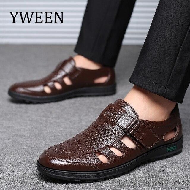 YWEEN venda quente homens sandálias sandálias de couro genuíno Dos Homens sapatos casuais ao ar livre Respirável Sapatos Pescador homens sapatos de Praia