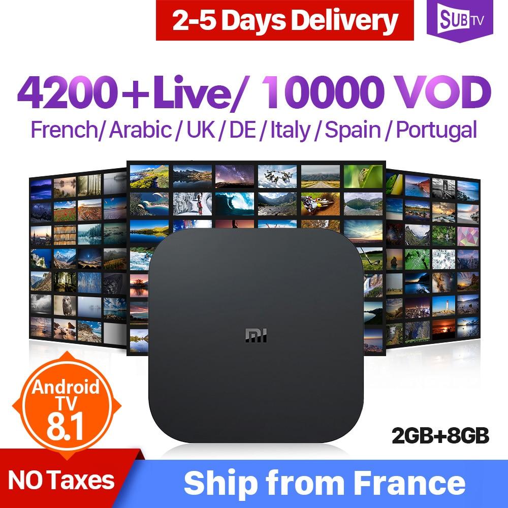 4 K IPTV France Xiao mi BOX S 4 K 2G 8G Android 8.1 Google Cast mi Box 4 1 an IPTV abonnement arabe Portugal France IP TV